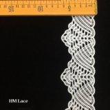 100%년 폴리에스테에 의하여 부채 모양으로 만들어지는 메시 그물 레이스 손질 도매 Hmw6351를 느끼는 6.5cm 소프트 터치
