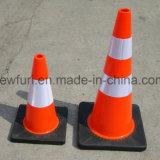 Cône en plastique de base circulant orange de circulation de PVC pour la sûreté
