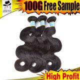 Cheveux humains réels, prolonge brésilienne du cheveu 10A