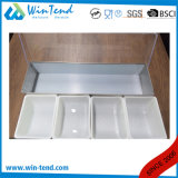 Supporto del contenitore di condimento dell'acciaio inossidabile con il divisore dei pp