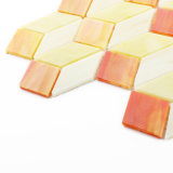 De oranje Kleine Tegels van het Gebrandschilderd glas van het Mozaïek voor de Muur van de Douche van de Badkamers
