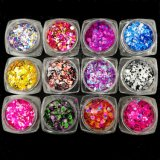 Neon Mixed Size Colorful Round 3D Glitter Nail Art Flakes