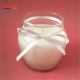 Vela de cristal helada del tarro de la cinta bonita transparente con la etiqueta engomada