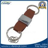 Personalizado de alta calidad de metal llavero de cuero para regalos