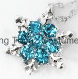 方法宝石類の光沢がある青い水晶ラインストーンの吊り下げ式のネックレスの美しい雪片の花のネックレス(EN07)