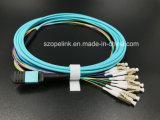광섬유 MPO-LC 탈주 케이블 12 섬유 Om3 Qsfp Qsfp28