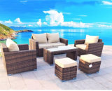 新しいデザイン現代テラスの藤または枝編み細工品の余暇の屋外の庭のソファーの家具