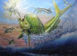 Handmade Jumping Mahi vie marine de la peinture huile sur toile pour la décoration d'accueil