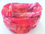 中国の工場農産物カスタムプリントポリエステルピンクのカムフラージュの女性の首の管のスカーフ