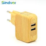 이중 5V 2.1A 나무로 되는 곡물 USB 여행 벽 충전기
