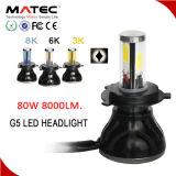 기관자전차 또는 차 부속품은 자동 차 빛 LED 12V 24V 80W 8000lm H7 LED 헤드라이트 색깔 이중으로 한다
