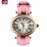 La moda de cuero rosa reloj de acero inoxidable resistente al agua