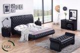 現代ホーム家具の縦の二重革ベッド