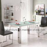 Tabella di pranzo superiore di vetro di disegno semplice