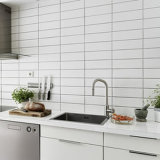 White 4X12polegadas/10x30cm vidrados cerâmicos brilhante Metro Parede Decoração de cozinha/casa de banho em mosaico