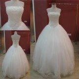Vestido de casamento Appliqued laço de perolização real do vestido de esfera de Tulle