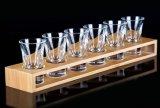 De douane Gegraveerde Stevige Houten Houder van het Embleem voor de Reeks van het Glas van de Wijn