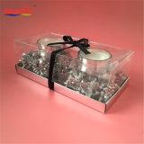 Vela de cristal de electrochapado de plata de la decoración de la piña del laurel para la Navidad