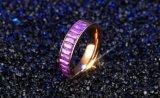 보석을 Wedding 여자를 위한 간단한 티타늄 강철 로즈 금 반지 다채로운 정연한 입방 지르코니아 낭만주의 반지