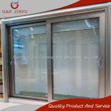 Perfil de metal Cristal Templado puertas corredizas de Panel de aluminio con persianas