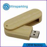 La memoria Flash di legno del USB di torsione con incide il marchio