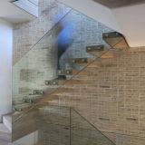 Escalera de madera flotante usada con los pasamanos de cristal