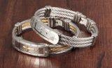 Monili trasversali d'argento Twisted dei braccialetti del collegare del polsino di fascino del Jesus dell'acciaio inossidabile dell'oro dei braccialetti trasversali maschii del cavo di modo per gli uomini