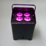 LED 4*18W RGBWA+UV 6in1 건전지 무선 DMX 결혼식 동위 Uplight