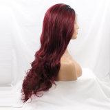 2개의 색깔 Ombre 파도치는 레이스 정면 합성 머리 가발