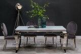 Tela de vidro branca do aço inoxidável e do veludo de tabela de jantar de Louis da prata do cromo do preto clássico francês moderno da sala de jantar que janta a prata das cadeiras