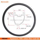 Nuevo diseño El hoyuelo Plus 700c asimétrico de frenado de la superficie de las ruedas de carbono cubierta tubeless ciclocross disco llantas de bicicleta de carretera