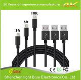 el nilón de carga del cable de los datos del USB de los 3FT tejido