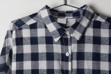 La parte superior de la Moda Mujer Plaid Causal Collar Polo Shirt