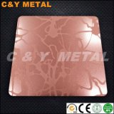 304 acero inoxidable decorativos con Sand-Blast, aguafuerte y Red-Copper