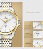 3 Manos Anolog cuarzo Pantalla impermeable reloj de acero inoxidable 72053