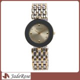 De waterdichte Horloges van het Kwarts, het Polshorloge van de Dame Roestvrij staal met het Glas van de Saffier
