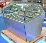 組置き活字Gelatoのショーケースかアイスクリームの飾り戸棚または台所装置