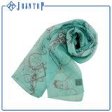 La mano ha rotolato la sciarpa chiffona del Tartan dell'OEM del poliestere personalizzata il bordo