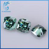 7X7mm 녹색 다채로운 방석 화려한 커트 2.0 캐럿은 Moissanite 다이아몬드를 푼다