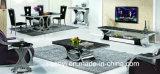Meubles de salle à manger en verre trempé Haut Table à manger en acier inoxydable