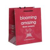 Bolso de compras brillante del papel del portador de la impresión de color rojo para la ropa