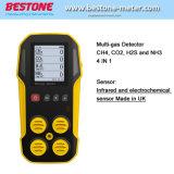 ガス分析器、ガスの漏出探知器、携帯用マルチガスの探知器CH4の二酸化炭素、H2s、1つのガス探知器のNh3 4
