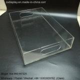 8X11 het Duidelijke Plastic Acryl Dienende Dienblad van de duim met Tussenvoegsel op de Bodem