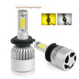 Nuevo coche doble de luz LED de color blanco amarillo S2 COB 8000LM LED automático de faros de xenón
