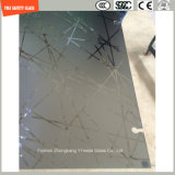 gravura em àgua forte ácida da impressão digital do Silkscreen Print/No de 4-19mm/geou/segurança do teste padrão moderada/vidro temperado para o chuveiro do hotel, banheiro, cerca com ISO, SGCC, certificado do Ce