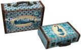 S/2 de Decoratieve Antieke Uitstekende ZeevaartDoos van de Koffer van de Opslag van de Druk Pu Leather/MDF van het Ontwerp Houten