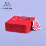 Amostra grátis em esmalte Coração Prata Pendente para chaveiro personalizado em relevo