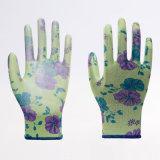 цветастый полиэфир 13G с перчатками безопасности PU Coated