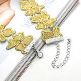 金カラーハンドメイドのかぎ針編みの花の女性の女性のためのCollier Femme Jewellery簡単なチョークバルブのネックレス