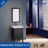 Vanidad de encargo comercial de madera derecha del cuarto de baño del suelo con el espejo
